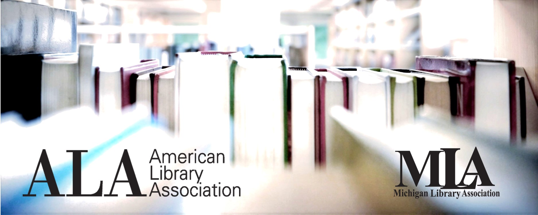 Image peering through a bookshelf with ALA logo and MLA logo