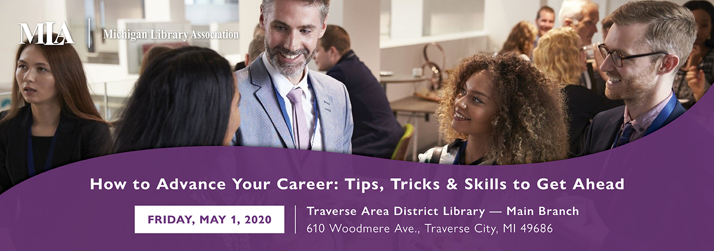 How to Advance Your Career event image with photo of people networking at an event