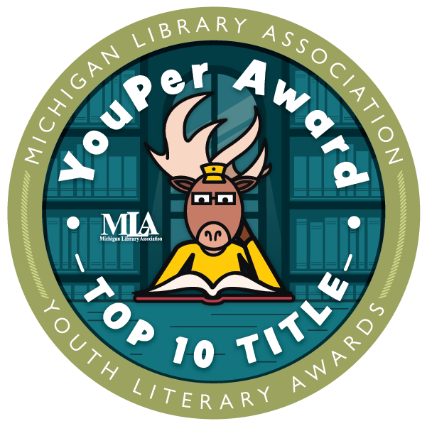 YouPer Award Top Ten Title seal with cartoon elk wearing glasses sitting at a table reading.